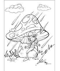 Click To See Printable Version Of Flip Under The Mushroom In Rain Coloring Page