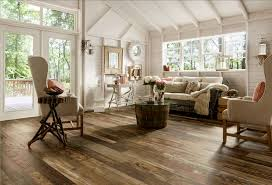 Rustic Ranch Style House Living Room Design With High Ceiling Wood Wall Painted White Interior Color Decor Plus Wide Plank Reclaimed Flooring And