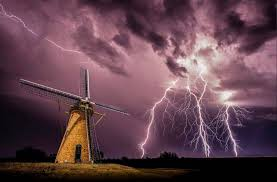 Windmills Lightning Storm Clouds Night Electricity Nature Landscape HD