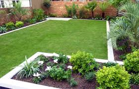 Simple Backyard Outdoor Garden With Large Green Grass And Some Palm Trees Decorating Also Brick Fence For Modern Design Ideas