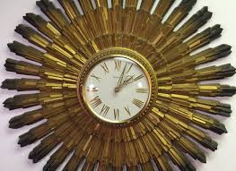 Mid Century Modern Starburst Wall Clock Made In US By Syroco Art