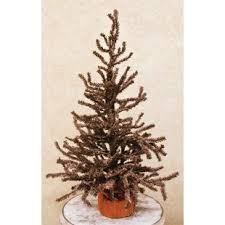Brown Pine Artificial Christmas Tree With Burlap Base