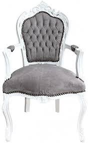 casa padrino barock esszimmer stuhl mit armlehnen grau weiß