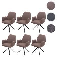 6x esszimmerstuhl hwc h71 küchenstuhl lehnstuhl stuhl drehbar auto position stoff textil stahl braun yatego
