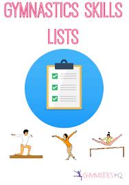 gymnastics skills event and level skill lists