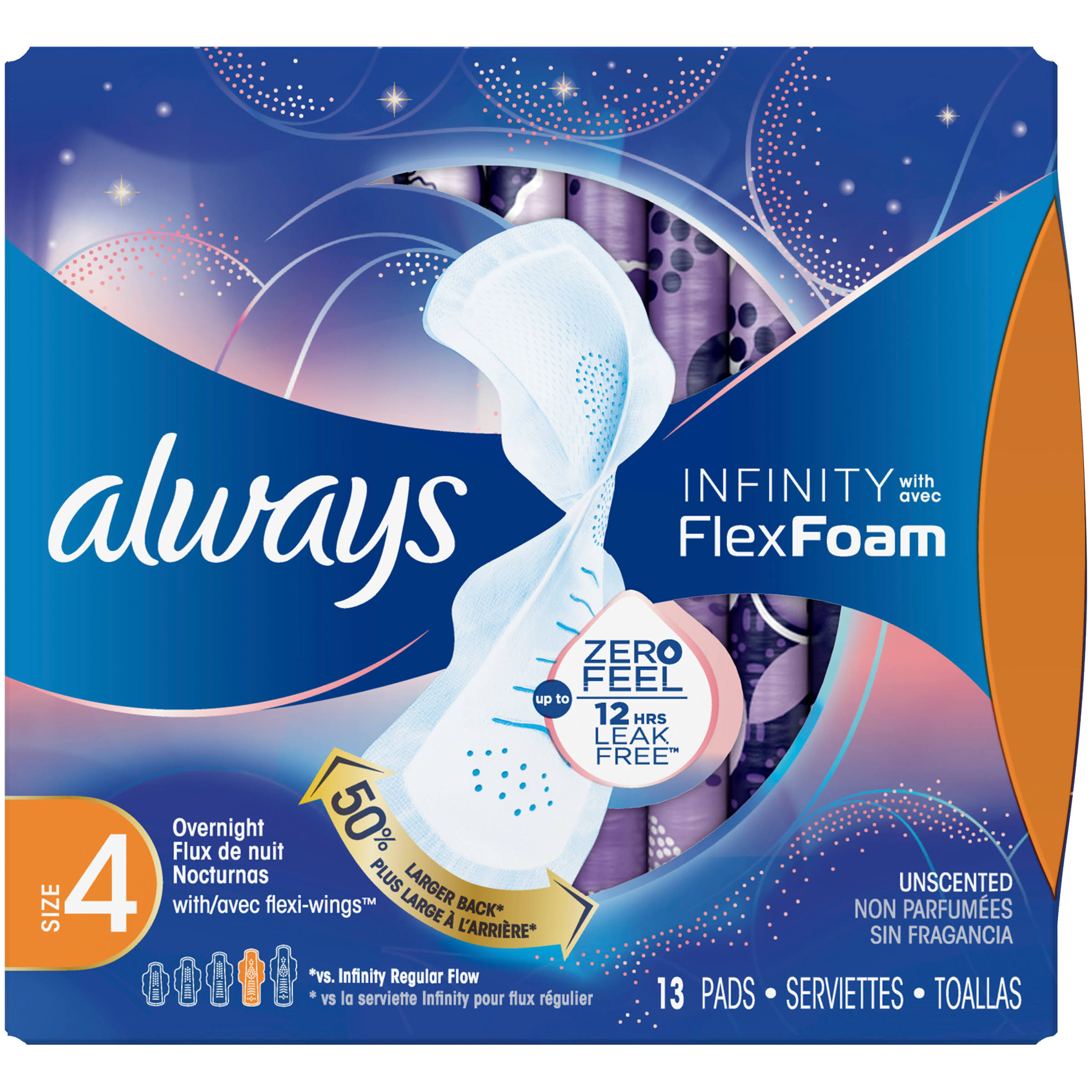 Always Infinity with Flex Foam Pads, with Flexi-Wings, Overnight, Unscented, Size 4 - 13 pads
