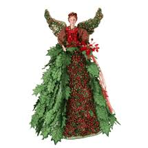 Regency Christmas Angel Tree Topper Incredible Holly Berry Red Green 20