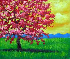 Peach Tree Oil Painting