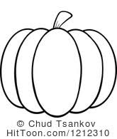 Black and White Outlined Pumpkin Preview r Clipart