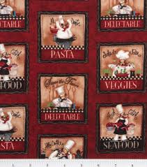 Fat Italian Chef Kitchen Theme by Novelty Cotton Fabric Chef Panel Joann