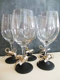 Chalkboard Wine Glasses Rustic White