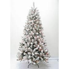 230cm Flocked Alaskan Pine Pre Lit Tree With 310 Warm White LEDs