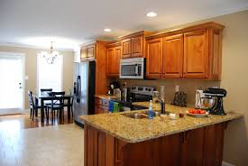 spacious modern kitchen living decor ideas with twin iron column