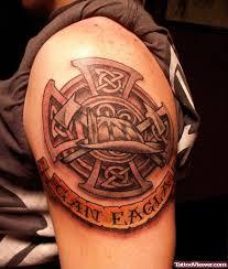 Grey Ink Celtic Cross Firefighter Tattoo On Left Shoulder