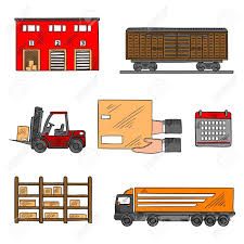 Storage And Delivery Service Elements With Freight Wagon Truck Warehouse Building Forklift