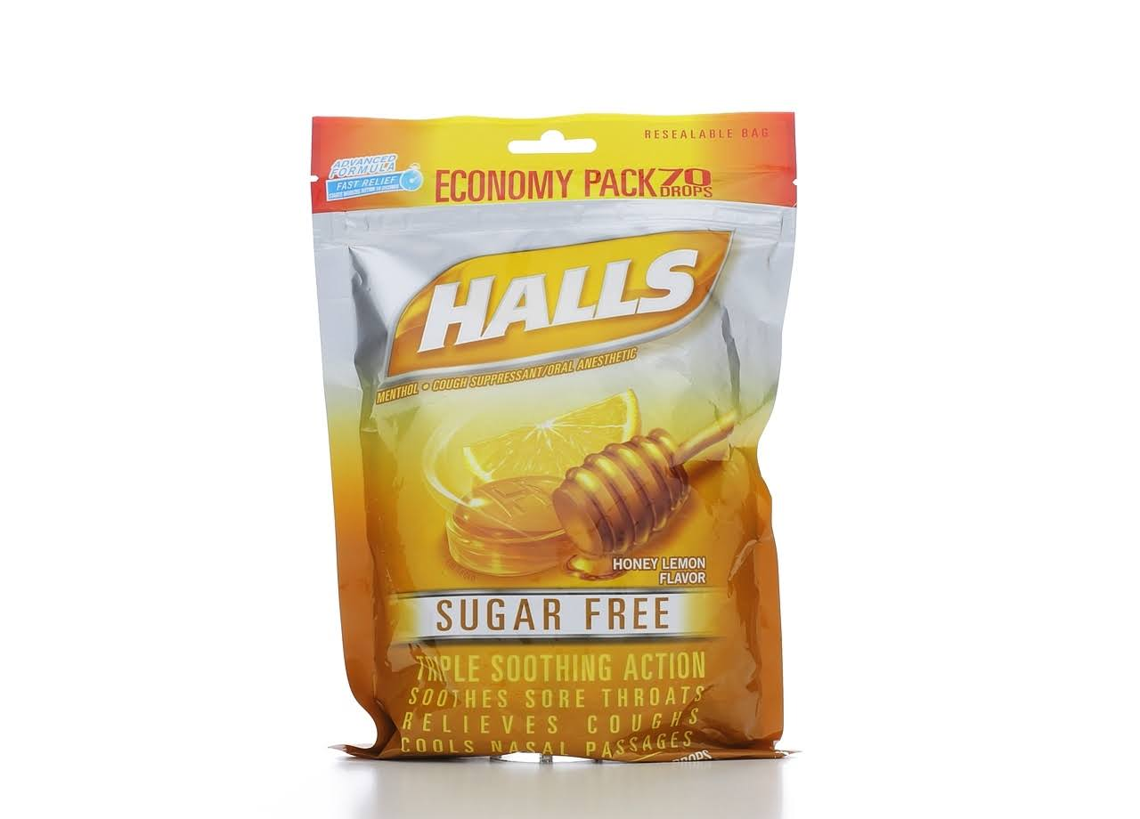 Halls Sugar Free Cough Drops - Honey Lemon, 70ct