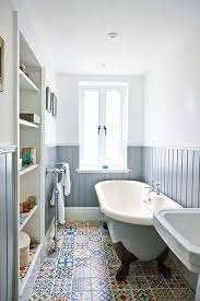 apartment renovation bathroom blue wall cladding and moroccan