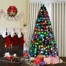 Costway 7Ft Fiber Optic Artificial Christmas Tree W275 Multicolor LED Lights And Stand