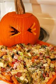 Puking Pumpkin Carving Ideas by For The Love Of Food Upchuckin U0027 Pumpkin Loaded Pasta Salad For