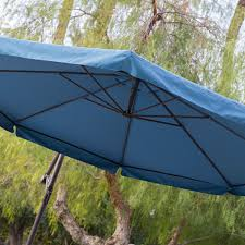 Offset Patio Umbrella W Mosquito Netting by Navy Blue 11 Ft Offset Steel Patio Umbrella Gazebo Canopy With