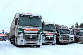 100 Magnum Trucks RAISIO FINLAND DECEMBER 8 2013 Two Renault