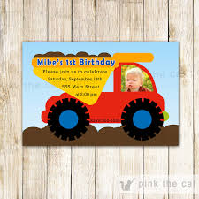 Dump Truck Invitation Boy Birthday Construction Party – Pink The Cat