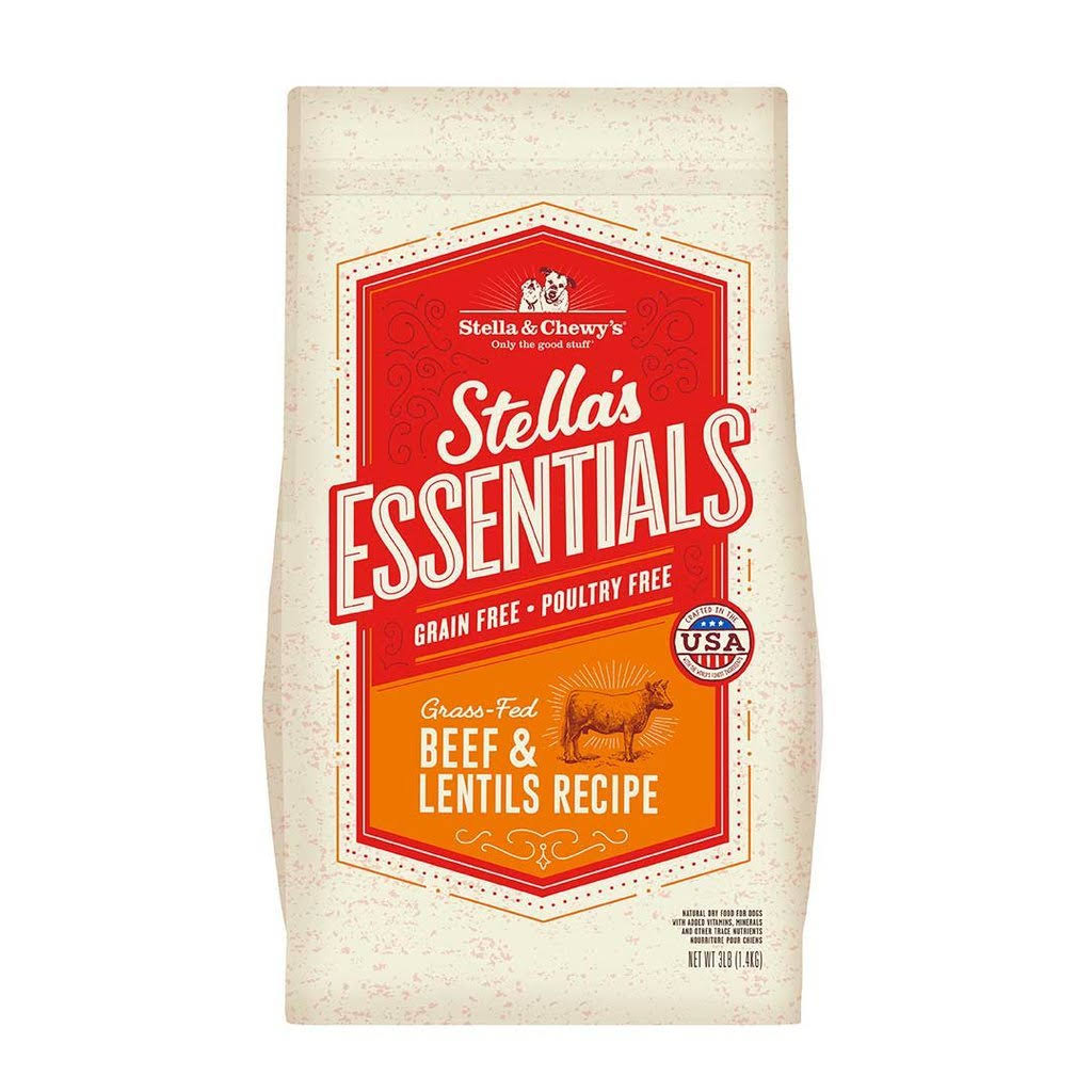 Stella & Chewy's Essentials Grain Free Grass-Fed Beef & Lentils Dog Food 25-lb