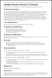 Sample Resume For Nursery Teachers In India Plus