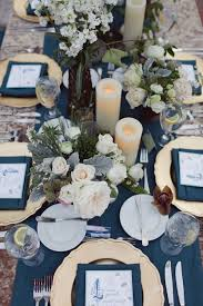 Blue And White Winter Rustic Wedding Tablescape Ideas