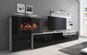 moderne wohnwand mit elektrischem kamin mit 5 flammstufen schrankwand wohnzimmer mattweiß mit schwarzer front maße 290 x 170 x 45 cm tiefe