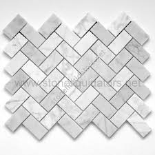 1 x 2 bianco white carrara marble herringbone mosaic honed
