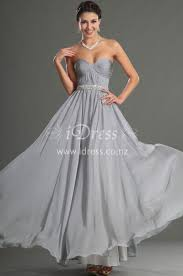 grey a line long strapless sweetheart chiffon prom dress with