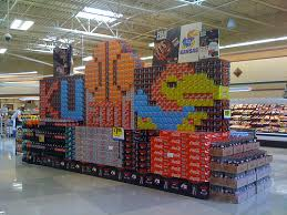 KU 2011 Basketball Display Made From Stacked Coca Cola Products