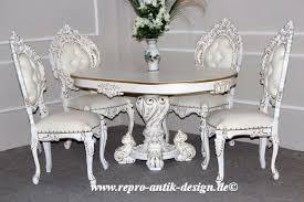barock esszimmer garnitur minerva rund lackiert in antik weiß mit gold dekor