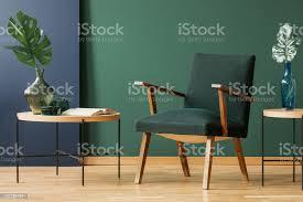 holz sessel zwischen tabellen mit blätter in grün und blau wohnzimmer interieur echtes foto stockfoto und mehr bilder blatt pflanzenbestandteile