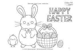Happy Easter Coloring Pages Page Chick And Basket Words Free