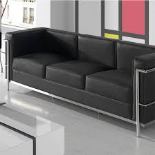 canapé cuir noir 3 places canapé 3 places cuir noir inox design moderne corbs univers du salon