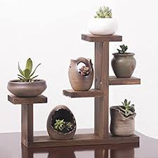Amazon UNHO Wooden Plant Flower Display Stand Wood Pot Shelf