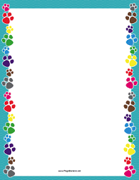 Colorful Paw Print Border Page