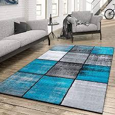 t t design teppich wohnzimmer modern kariert meliert grau schwarz türkis größe 60x100 cm