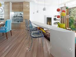 moderne weiße bar mit drei transparenten stühlen die theke in der küche esszimmer mit blick auf das wohnzimmer 3d übertragen