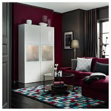 bestå vitrine weiß selsviken hochglanz frostglas weiß 120x42x193 cm