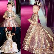 2017 Rose Gold Sequin Girls Pageant Dress Jewel Long Sleeves Birthday Party Prom For Girl Dresses Kids From Sweetlovedress