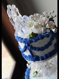 blue swag wedding cake
