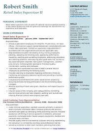 Retail Sales Supervisor II Resume Sample