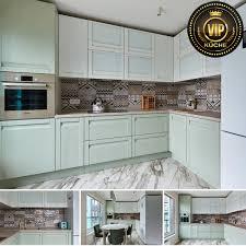 moderne küche ariane massivholzküche küchenzeile l form mintgrün weiß