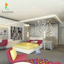 Interior Colorful Bedroom Design With Butterfly Tree Sculpture Designing Kids Sports Room For Your Active Children