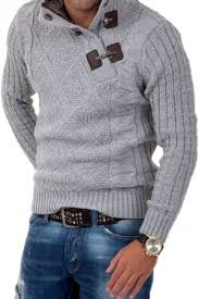 pull homme fashion gris clair col montant 7081