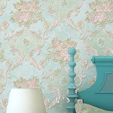 American Style Rustic Small Flower Non Woven Wallpaper Roll Blue Pink Beige 3D Embossed Floral