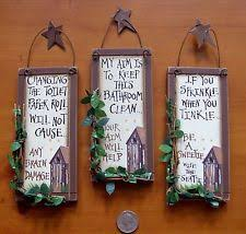 3 OUTHOUSE WOODPRIMITIVE BATHROOM SIGNS Wall Decor With HANGERS RUSTIC STARS